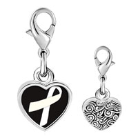 Link Charm Bracelet - 925  sterling silver white ribbon awareness white and black photo heart frame link charm Image.