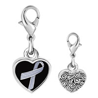 Link Charm Bracelet - 925  sterling silver pinstripes ribbon awareness photo heart frame link charm Image.