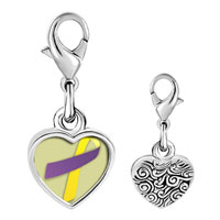 Link Charm Bracelet - 925  sterling silver purple and yellow ribbon awareness photo heart frame link charm Image.