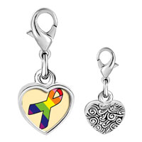 Link Charm Bracelet - 925  sterling silver rainbow ribbon awareness photo heart frame link charm Image.