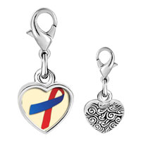 Link Charm Bracelet - 925  sterling silver red and blue ribbon awareness photo heart frame link charm Image.