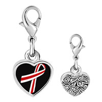 Link Charm Bracelet - 925  sterling silver red and white ribbon awareness photo heart frame link charm Image.