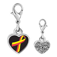 Link Charm Bracelet - 925  sterling silver red and yellow ribbon awareness photo heart frame link charm Image.