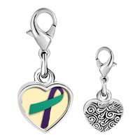 Link Charm Bracelet - 925  sterling silver purple and teal ribbon awareness photo heart frame link charm Image.