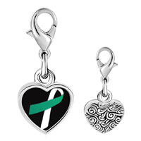 Link Charm Bracelet - 925  sterling silver teal and white ribbon awareness photo heart frame link charm Image.
