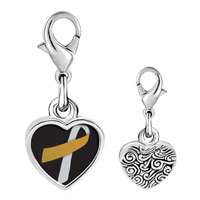 Link Charm Bracelet - 925  sterling silver silver and gold color ribbon awareness photo heart frame link charm Image.