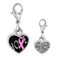 Link Charm Bracelet - 925  sterling silver hope pink ribbon awarenessphoto heart frame link charm Image.