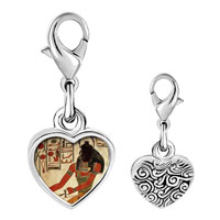 Link Charm Bracelet - 925  sterling silver gold plated egyptian god khepri photo heart frame link charm Image.