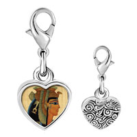 Link Charm Bracelet - 925  sterling silver gold plated egyptian queen cleopatra photo heart frame link charm Image.