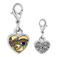 Link Charm Bracelet - 925  sterling silver gold plated egyptian eye of horus photo heart frame link charm Image.