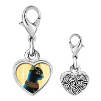 Link Charm Bracelet - 925  sterling silver gold plated egyptian bastet cat photo heart frame link charm Image.