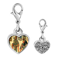 Link Charm Bracelet - 925  sterling silver gold plated egyptian horus and nefertiti photo heart frame link charm Image.