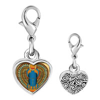 Link Charm Bracelet - 925  sterling silver gold plated egyptian khepri photo heart frame link charm Image.