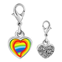 Link Charm Bracelet - 925  sterling silver valentine' s day heart shape &  rainbow color photo heart frame link charm Image.