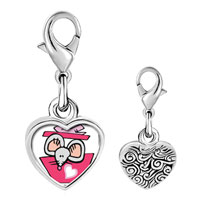 Link Charm Bracelet - 925  sterling silver gold plated valentine' s day rat cartoon photo heart frame link charm Image.