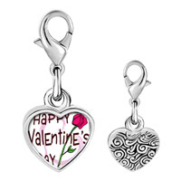 Link Charm Bracelet - 925  sterling silver gold plated valentine' s day pink rose photo heart frame link charm Image.