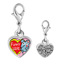 Link Charm Bracelet - 925  sterling silver gold plated valentine' s day funny love mouse photo heart frame link charm Image.