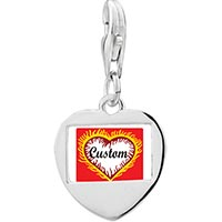 925 Sterling Silver Valentine S Day Custom Feathered Heart Photo Heart Link Charm