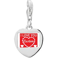 Link Charm Bracelet - 925  sterling silver gold plated valentine' s day i love youphoto heart frame link charm Image.