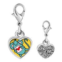 Link Charm Bracelet - 925  sterling silver gold plated valentine' s day blue mouse photo heart frame link charm Image.