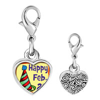 Link Charm Bracelet - 925  sterling silver gold plated leap day photo heart frame link charm Image.