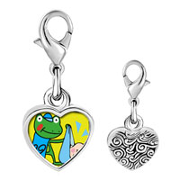 Link Charm Bracelet - 925  sterling silver gold plated leap day frog stork photo heart frame link charm Image.