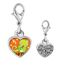 Link Charm Bracelet - 925  sterling silver gold plated leap day party frog photo heart frame link charm Image.