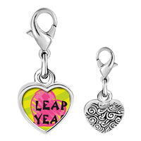 Link Charm Bracelet - 925  sterling silver gold plated leap year pink heart photo heart frame link charm Image.