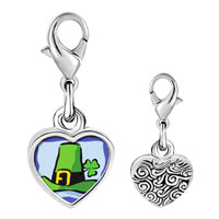 Link Charm Bracelet - 925  sterling silver gold plated st.  patrick' s day with a green hatphoto heart frame link charm Image.