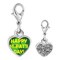 "Link Charm Bracelet - 925  sterling silver "" happy st.  pat' s day""  photo heart link charm Image."