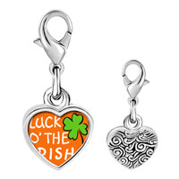 "Link Charm Bracelet - 925  sterling silver st.  patrick' s day with words "" luck of the irish""  photo heart frame link charm Image."