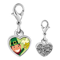 Link Charm Bracelet - 925  sterling silver st.  patrick' s day with leprechaun with beer photo heart frame link charm Image.