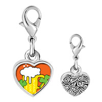 Link Charm Bracelet - 925  sterling silver st.  patrick' s day with shamrock and beer photo heart frame link charm Image.
