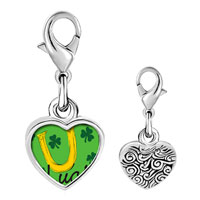 Link Charm Bracelet - 925  sterling silver st.  patrick' s day luck with shamrock photo heart frame link charm Image.