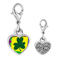 Link Charm Bracelet - 925  sterling silver gold plated st.  patrick' s day with shamrock photo heart frame link charm Image.