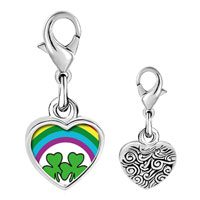 Link Charm Bracelet - 925  sterling silver st.  patrick' s day with shamrock and rainbow photo heart frame link charm Image.