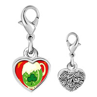 Link Charm Bracelet - 925  sterling silver st.  patrick' s day with shamrock and green beer photo heart frame link charm Image.