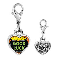 Link Charm Bracelet - 925  sterling silver good luck pot of gold photo heart frame link charm Image.