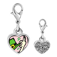 Link Charm Bracelet - 925  sterling silver st.  patrick' s day with leprechaun' s top hat photo heart frame link charm Image.