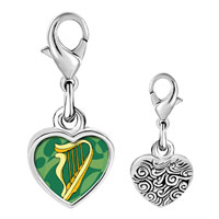 Link Charm Bracelet - 925  sterling silver st.  patrick' s day with a celtic harp photo heart frame link charm Image.