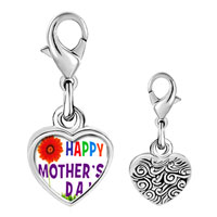 Link Charm Bracelet - 925  sterling silver gold plated happy mother' s day photo heart frame link charm Image.