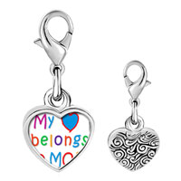 Link Charm Bracelet - 925  sterling silver mother' s day my heart belongs to mom photo heart frame link charm Image.