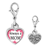 Link Charm Bracelet - 925  sterling silver gold plated mother' s day always a mom photo heart frame link charm Image.