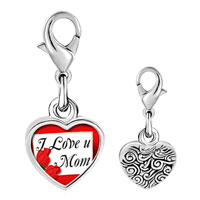 Link Charm Bracelet - 925  sterling silver gold plated mother' s day i love you mom photo heart frame link charm Image.