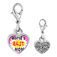 Link Charm Bracelet - 925  sterling silver gold plated mother' s day world' s best mom photo heart frame link charm Image.
