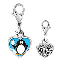 Link Charm Bracelet - 925  sterling silver gold plated cartoon i love winter photo heart frame link charm Image.