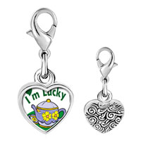 Link Charm Bracelet - 925  sterling silver gold plated cartoon i' m lucky photo heart frame link charm Image.