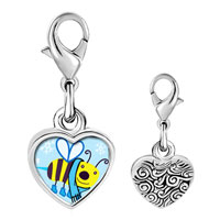 Link Charm Bracelet - 925  sterling silver gold plated cartoon bee cool photo heart frame link charm Image.