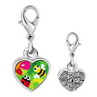 Link Charm Bracelet - 925  sterling silver gold plated cartoon plant geekphoto heart frame link charm Image.