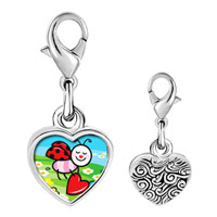 Link Charm Bracelet - 925  sterling silver gold plated cartoon little lady bugphoto heart frame link charm Image.